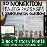 Black History Month Nonfiction Passages and Questions - Print and Digital