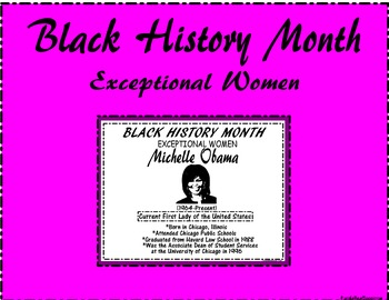 """Black History Month """"Exceptional Women"""" Michelle Obama"""