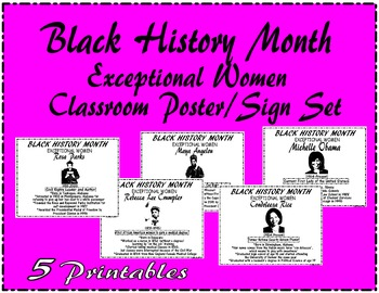 """Black History Month """"Exceptional Women"""" Bulletin Board/Sign/Poster Set"""
