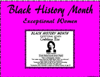 "Black History Month ""Exceptional Women"" Condoleeza Rice"