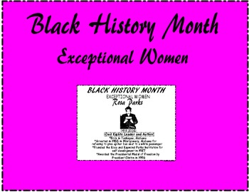 """Black History Month """"Exceptional Women"""" Rosa Parks"""