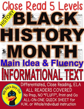 Black History Month FACTS Differentiated 5 Level Passages Close Read Info Text