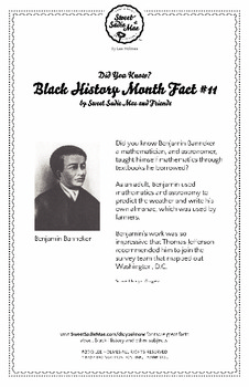 Black History Month Fact #11 Character Education Activity Resource