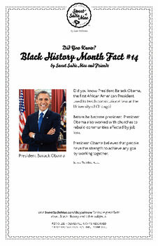 Black History Month Fact #14 Character Education Activity Resource