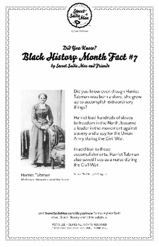 Black History Month Fact #7 Character Education Activity Resource