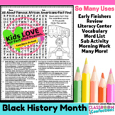 Black History Month Reading Activity: Black History Month Word Search (facts)