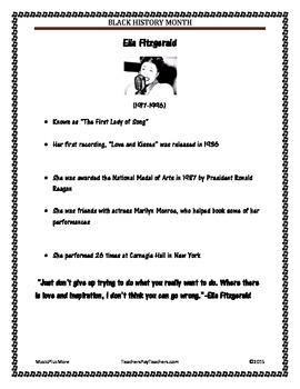 Black History Month Famous Musicians Ella Fitzgerald