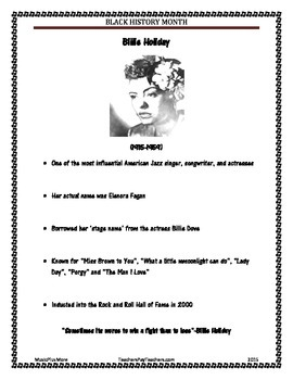 Black History Month Famous Musicians Billie Holiday