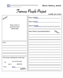 Black History Month Famous Person Worksheet