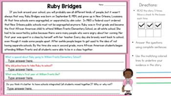 Black History Month - Finding Text Evidence Reading Comprehension Passages
