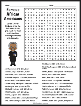 image about Black History Crossword Puzzle Printable identified as Black Heritage Thirty day period FREEBIE: Famed African People Term Glimpse