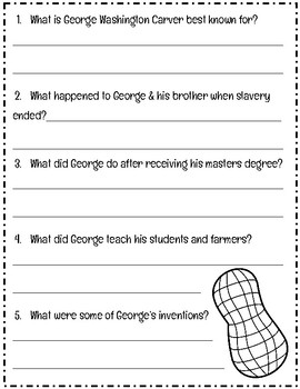 Black History Month: George Washington Carver Reading Comprehension Passage
