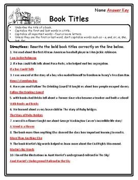 Black History Month Grammar Book Titles Worksheet Underlining Book Titles