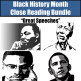 """Black History Month Close Reading Bundle """"Great Speeches"""""""