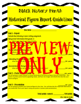 Black History Month Historical Figure Report Guidelines
