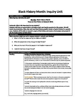 Black History Month Inquiry Unit