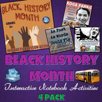 Black History Month Interactive Notebook Activities 4 Pack Bundle