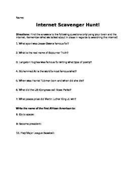 Worksheets Internet Scavenger Hunt Worksheet black history month interne by core learning and knowledge internet scavenger hunt