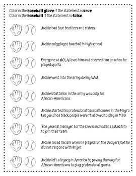 Black History Month: Jackie Robinson Reading Comprehension Passage and Questions