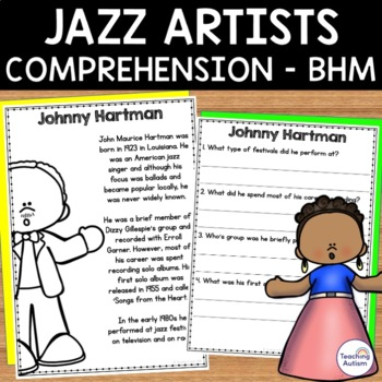 Black History Month - Jazz Artists - Reading Comprehension