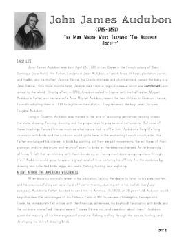 Black History Month JOHN JAMES AUDUBON Poster Passage and Questions