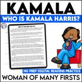 Women's History Month | Kamala Harris|Digital Reading Comprehension Passage Unit