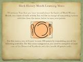 Black History Month Learning Menu