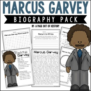 Marcus Garvey Biography Pack (Black History Month)