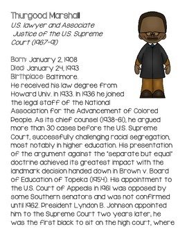 Black History Month Mini Biographies