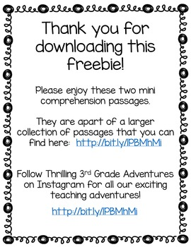 Black History Month: Mini-Comprehension 2 Passage Freebie!