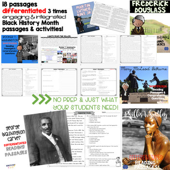Black History Month Differentiated Reading Passages No Prep Leveled Texts bundle