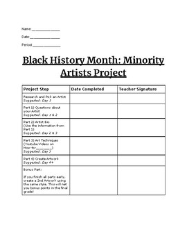 Black History Month: Minority Artists Project