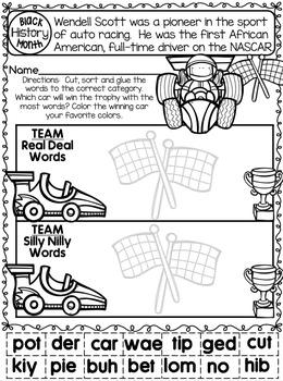 Black History Month No Prep Printables - Kindergarten Math and Literacy