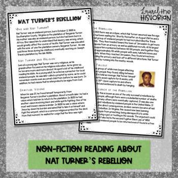 Black History Month Non-fiction Reading Passage Nat Turner's Rebellion