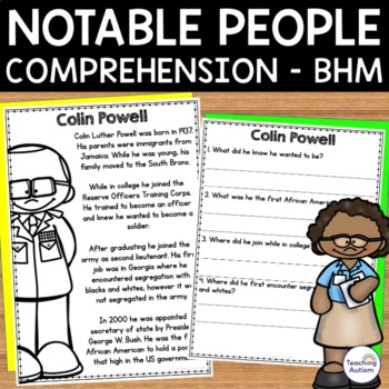 Black History Month Notable People Reading Comprehension
