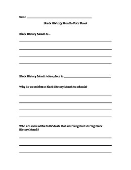 Black History Month Note Sheet
