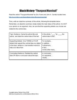 Black History Month Objective Summary Activities
