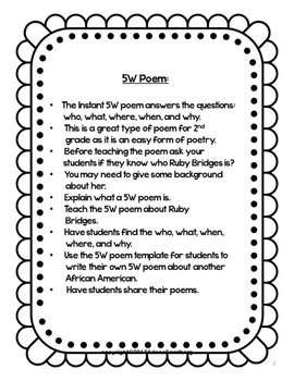 Black History Month Poem and Writing Activity