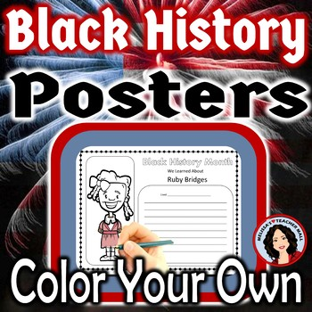 Black History Month Posters Color Your Own Posters