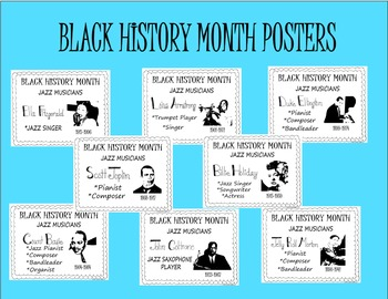 Black History Month Posters-Famous Jazz Musicians-8 Posters