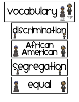 Black History Month ~ Posters and Vocabulary