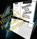 Black History Month Program Agenda #6  (EDITABLE/TEMPLATE)
