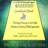 Black History Month Program Agenda #8  (EDITABLE/TEMPLATE)