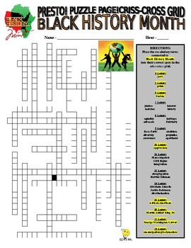 Black History Month Puzzle Page (Wordsearch and Criss-Cross)