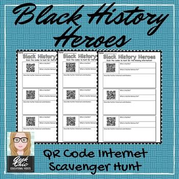 "Black History Month - QR CODE ""Black History Heroes""  - scavenger hunt!"