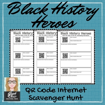 "Black History Month QR CODE ""Black History Heroes""- scavenger hunt!"