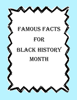 Black History Month Quick Facts and Story Problems