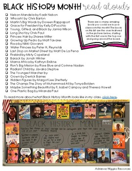 Black History Month Read Aloud List
