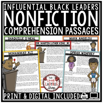 Black History Nonfiction Reading Comprehension Passages & Questions 4th Grade