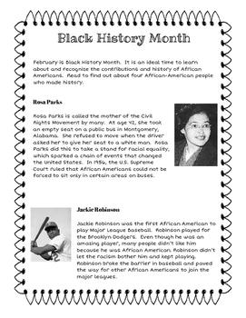 Black History Month Reading Passage